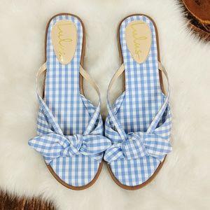 Lulu's Gingham Slides • New! Light blue gingham